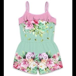 Pink & Turquoise Green Floral Ruffle Accent Romper
